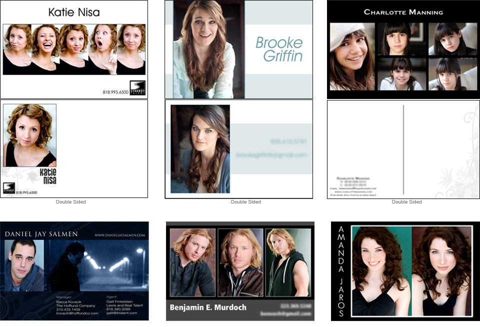 Acting dancing modeling post card zed card business card layout ...