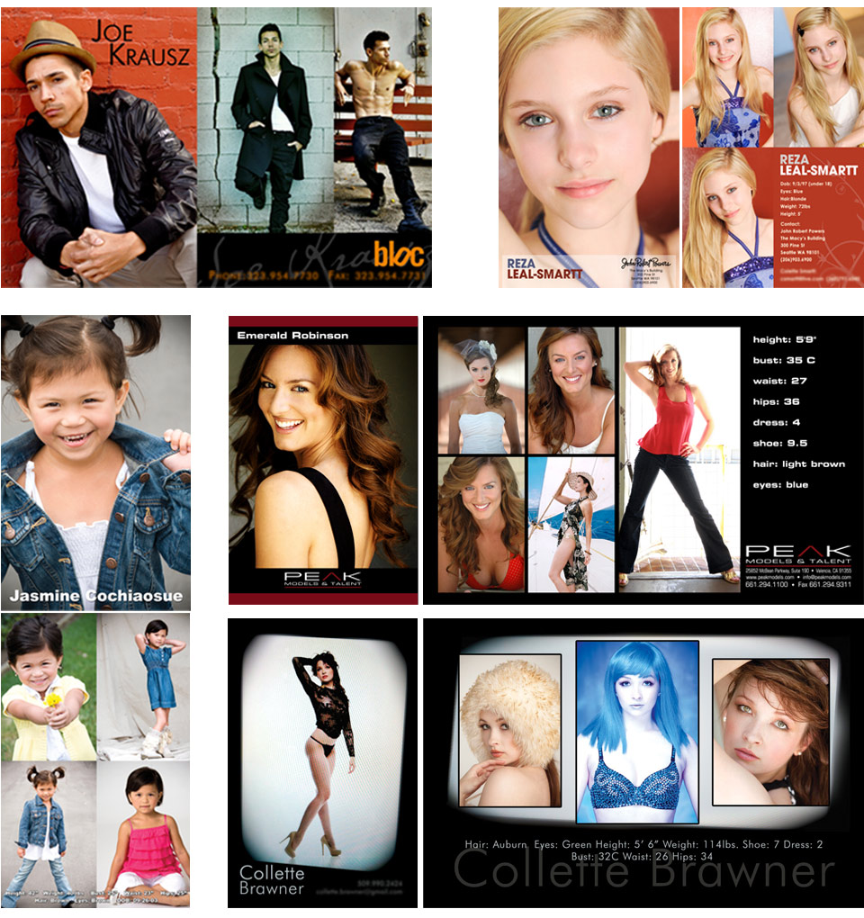acting dancing modeling post card zed card business card layout