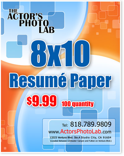 8x10 actor resume paper actor resume printing on back of headshots - Resume Paper